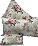 L'EMPORIO CASA Juego completo de sábanas rosas floradas para cama de matrimonio – Sábana muy suave 100% puro algodón italiano
