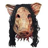 BEETEST Fiesta de Halloween Máscara de látex miedo espeluznante del cerdo Cosplay traje de mascarada del carnaval