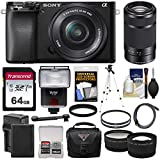 Sony Alpha A6100 Mirrorless Digital Camera with 16-50mm & 55-210mm Lens + 64GB Card + Battery & Charger + Case + Tripod + Flash + Filters + 2 Lens Kit