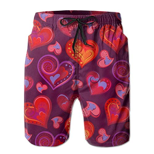 Pantalones Cortos de Playa Informales Informales de Verano para Hombre Pantalones Cortos de baño de Secado rápido - Patrones de corazón de Amor, Talla XL