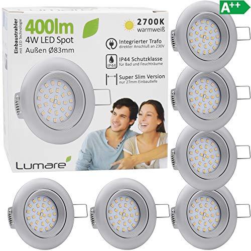 6x Lumare LED Einbaustrahler 4W 400 Lumen IP44 nur 27mm extra flach Einbautiefe LED Leuchtmodul austauschbar Deckenspot AC 230V 120° Deckenlampe Einbauspot warmweiß silber matt rund Badezimmer
