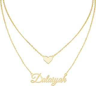 Personalized Layered Name Necklace, Customized Nameplate Charm Pendant with 2 Inches Extender Chain Custom Sterling Silver Jewelry Gift for Women