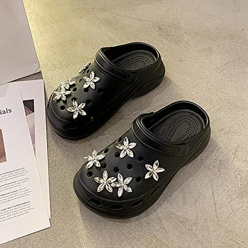 Kirin-1 Chanclas Mujer Verano 2019 Piscina,Zapatos Y Complementos,Zapatillas Accesorios Taladro De Agua Sea Star Star Cool Drag Playas-39_Negro