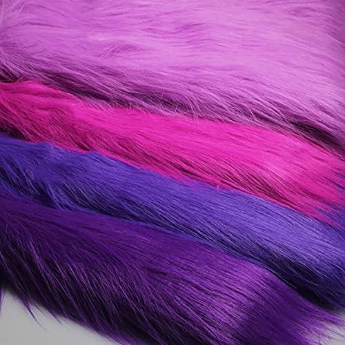 Lila Kunstpelz Stoff Langer Stapel 12cm Luxus Zotteliger Pelzstoff Zum Basteln Foto Prop Hintergrund Fursuit Teppiche Kostüme Mode Dekoration Cosplay 50x170cm(Color:3 Purple)