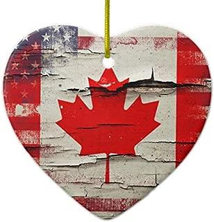 PotteLove Crackle Paint Canadian American Flag Ceramic Ornament