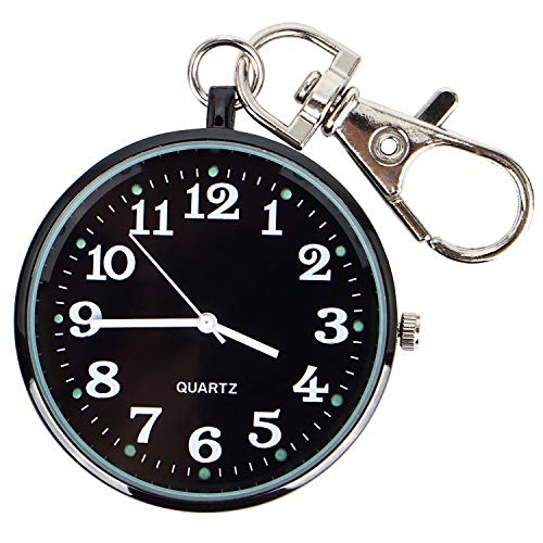Men's Black-Tone Ultra Thin Railroad Open Face Quartz Pocket Watch with Key Buckle & Chain