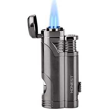 Torch Lighter Dual Jet Flame Refillable Butane Lighter Windproof Lighter with Punch - Butane Not Included