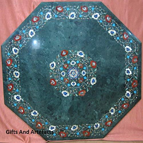 129 cm Marmor Patio Couchtisch Tischplatte Pietra Dura Art mit Multi Edelsteinen und Perlmutt verwendbar als Terrassensofa Tisch