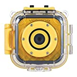 Volkano Kids Waterproof HD Action Camera, 720p HD Recorder, Fixed Focus Lens, LCD Screen Camcorder for Boys and Girls with Bike and Helmet Mount, USB and Micro SD Card Input [Yellow] - Funtime Series