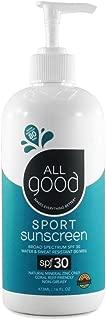 All Good Sport Sunscreen Lotion - Zinc Oxide - Coral Reef Safe - Water Resistant - UVA/UVB Broad Spectrum - SPF 30 (16 oz Pump)