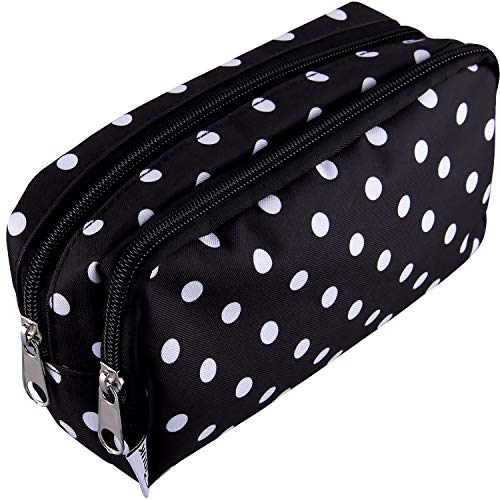 SIQUK Pencil Case Black and White Polka Dots Pencil Pouch Big Capacity Pen Case Double Zippers Stationery Bag with Compartments Cosmetic Bag for Girls Boys and Adults