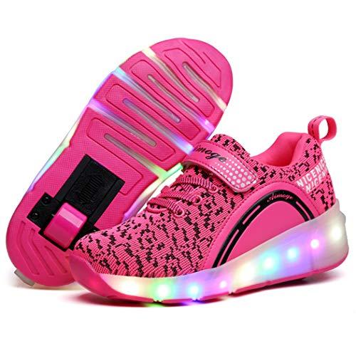 Unisex Niño LED Rueda única Zapatos Calzado Deportivo Aire Libre Deporte Skateboarding Gimnasia Zapatillas USB Recargar 7 Colore Brillante Sneaker LED Moda Zapatillas Niños Niña