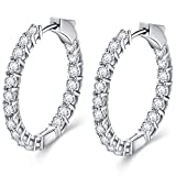ECOLVANT Hoop Earrings for Women Sterling Silver Earrings Swarovski Crystal Cubic Zirconia Huggie Hoop Earrings for Women Girls Birthday Party Hypoallergenic Women Fashion Earrings (Secure Lock)