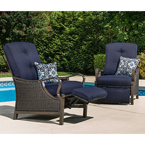 Hanover Ventura Outdoor Patio Hand-Woven Wicker, Rust-Resistant Frames, and Thick Navy Cushions, VENTURAREC-NVY Recliner