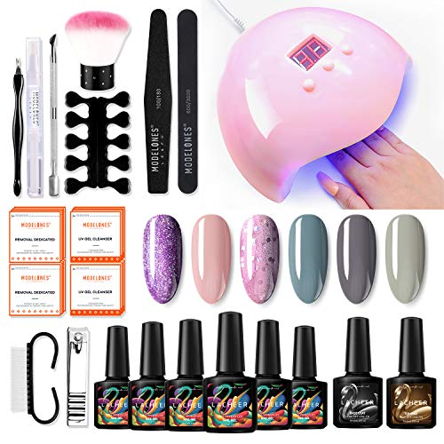 LACHEER Gel Nagellack Kit Gel Nagel Starter Kit mit 36W UV LED Lampe (3 Timer Einstellung), 6 * 10 ml UV LED Gel Nagellack, Deck und Basislack, Maniküre Werkzeugset, Entfernerwickel, Nagelstudio Set