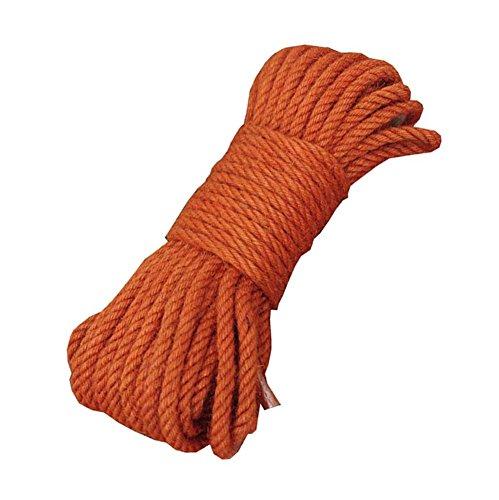 Corde 100% Naturelle de Chanvre de Couleur (8mm), 20 mètres (65 pi) pour Le Cadeau de décoration de Bricolage, Orange