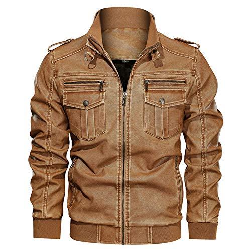 ASDFGHJKL Chaqueta para Hombre Bomber Jacket,Chaqueta de la Motocicleta Chaqueta de Cuero de Invierno de los Hombres los Hombres del otoño a Prueba de Viento Outwear Masculino