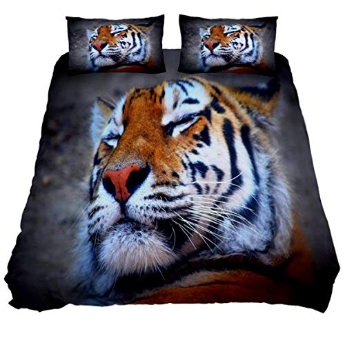 N\O Tiger Wildlife Bedding Sets Breathable Bedclothes 3 Pieces Bedding Duvet Cover Sets (1 Duvet Cover + 2 Pillowcases) Room Decor Ultra Soft Microfiber(NO Comforter Included)