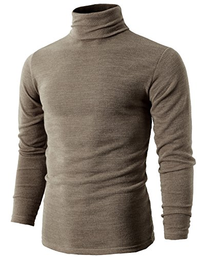 H2H Mens Basic Knitted Turtleneck Pullover Sweater Beige US M/Asia XL (KMTTL028)