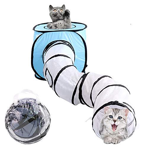 GXHGRASS opvouwbare kat tunnel, 2 in 1 kat kubus tent S Type draagbare binnen en buiten boor emmer huisdier speelgoed, waterdicht Polyester, 120 cm in lengte