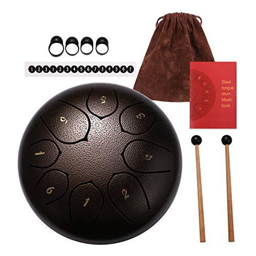 Topnaca Zungentrommel aus Stahl 8 Noten 6 Zoll, Tanktrommel C Key Percussion Instrument mit Trommelschlägeln, Tragetasche, Musikbuch