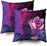 Fundas de almohada de sofá, fondo artístico, seda y flores, fragmento de pelo de 45,7 x 45,7 cm, juego de 2 fundas de almohada, decoración fundas de almohada con cremallera para sofá