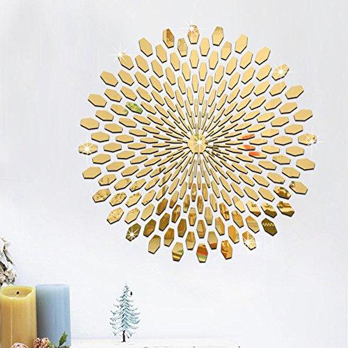 3D Wandaufkleber Sticker Wanddeko Spiegel Effekt Aufkleber Wandsticker Wandtattoo Wanddeko TV Hintergrund Deko für Wohnzimmer Kinderzimmer Türen Fenster Badezimmer Kühlschrank (Gold)