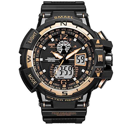 JTTM Reloj Analógico Digital Militar Reloj Deportivo Hombres Dual Dial Negocio Casual Multifunción Relojes De Pulsera Electrónicos Reloj Resistente,Rose Gold