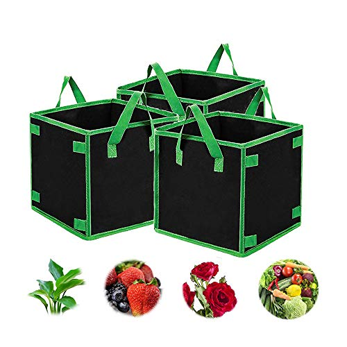 NUODWELL 7 Gallon 5 Pack Square Grow Bags Heavy Duty Aeration Fabric Pots Thickened Nonwoven Fabric Pots Plant Grow Bags with Handles for Indoor and Outdoor Garden