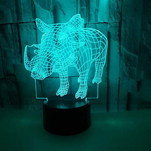 Optical Illusion 3D Wild Boar Night Light Lamp 7 Color Change LED Touch USB Table Gift Kids Toys Decor Decorations Christmas Valentines Gift Birthday Gift