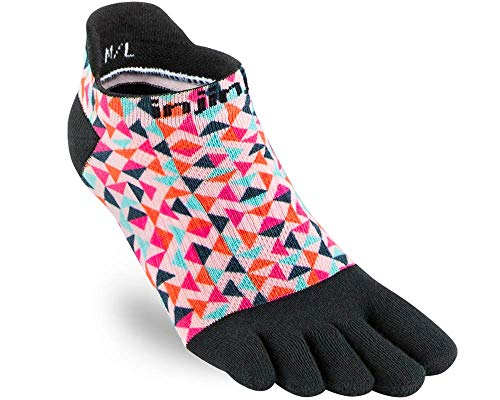 Injinji Women's Run Lightweight No-Show (X-Small/Small, Retro Spectrum)