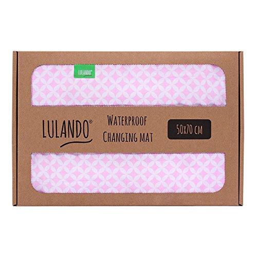 LULANDO Fasciatoio portatile Telo impermeabile per cambio del pannolino 50 cm x 70 cm Standard 100 by Oeko-Tex – Classe I (Pink Sparklings/White)