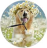 gardenia store Reloj de pared redondo Golden Retriever silencioso para decoración del hogar, sala de estar, cocina, dormitorio, oficina, escuela, 25 cm