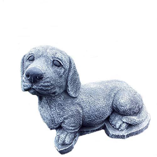 Steinfigur Hund Labrador Welpe Gartenfigur Steinguss Frostfest