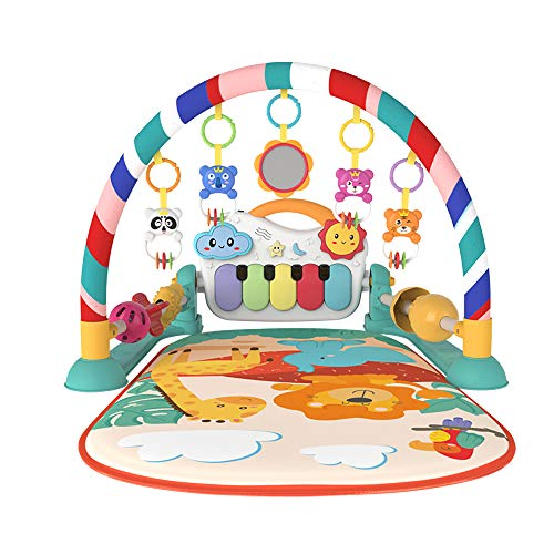 Eners Baby Gyms Play Mats Musical Activity Center Kick & Play Piano Gym Tummy Time Padded Mat for Newborn Toddler Infants(Green)