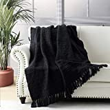 Chunky Knit Throw Blanket, Black Soft Warm Cozy Bed Throw Blanket with Tassels, Boho Style Textured Knitted Home Decorative Blanket for Couch, Sofa &Bed, 50'x60'