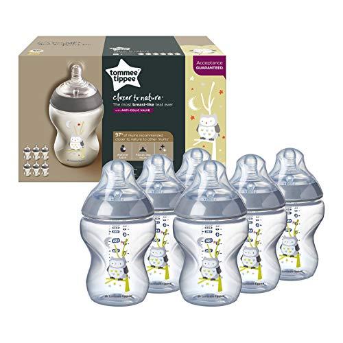 Tommee Tippee Naturnäher dekorierte Babyflaschen, 260 ml, 6 Stück