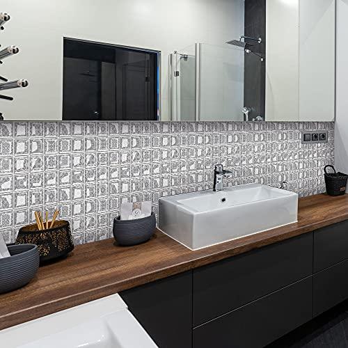 Adhesivo para azulejos, simulación europea geométrica, adhesivo de pared, 10 unidades, 10 x 10 cm, decoración artística