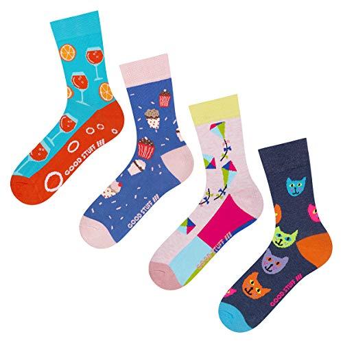 soxo Damen Bunte Sneaker Socken | Größe 35-40 | 4er Pack | Baumwolle Damensocken mit lustigen Motiven | Perfekt für flache Schuhe | tolle Ergänzung für Ihre Garderobe