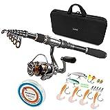 PLUSINNO Telescopic Fishing Rod and Reel Combos Full Kit, Carbon Fiber...