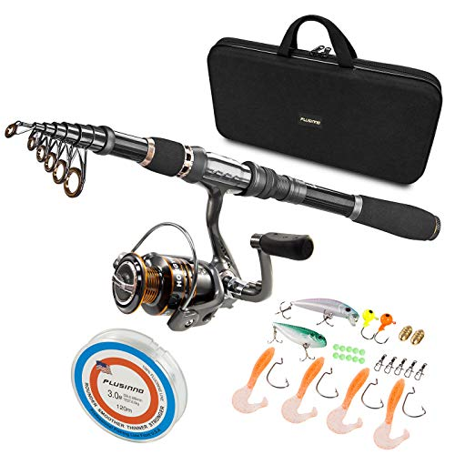 PLUSINNO Telescopic Fishing Rod and Reel Combos Full Kit, Carbon Fiber