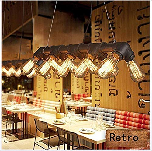 ZGYQGOO Vintage Industrial Ceiling Pendant Light - Steampunk Hanging Lamp Retro Metal Water Pipe Chandelier 10 Lights for Room Bar Restaurant Decoration - Rust Colour (Bulb Not Included) steampunk buy now online
