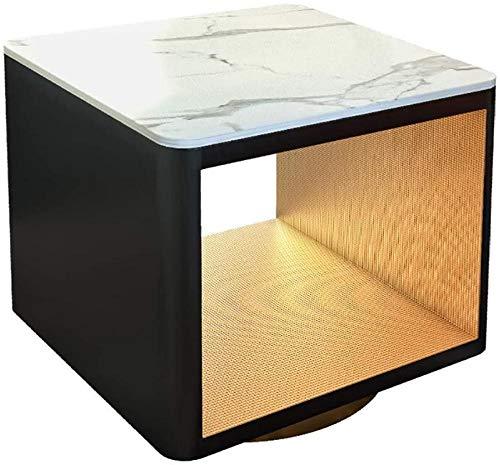 Bath chair Mesita de noche moderna de mármol resistente con marco de metal dorado y aspecto chic para sala de estar, dormitorio, sala de estudio, dormitorio nórdico, mesita de noche CHFYG (color: A)