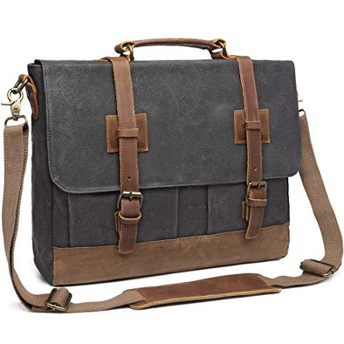 Messenger Bag for Men 15.6 inch Waterproof Waxed Canvas Genuine Leather Business Briefcase Computer Laptop Bag Large Retro Satchel Shoulder Bag Grey