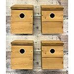 Wooden Multi-Hole Wild Bird Classic Nest Box Birdhouse (Set of 4)