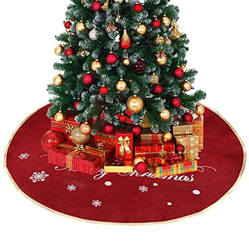 TSLBW Jupe Arbre de Noël, Lin Couvre-Pied de Sapin Décoration de Noël Arbre Jupe Couverture en Rouge, Père Noël Traîneau Modèle Rennes Noël Party Home Decor Décoration d'arbre de Noël Dark Red
