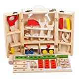 JUST style 【国内検査済 たっぷり38パーツ】男の子のおもちゃ 積み木 知育玩具 で おままごと 「はじめての大工さん」 赤ちゃん 舐めても安心 かじれる 収納BOX付き