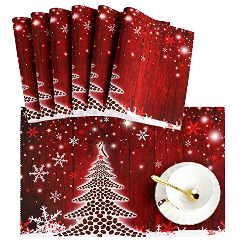 Naanle Winter Holiday Placemat Set of 6, Christmas Tree with Snowflake Heat-Resistant Washable Table Place Mats for Kitchen Dining Table Decoration
