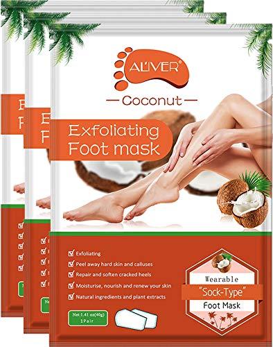 Foot Peel Mask 3 Pack Coconut Foot Mask Peeling Dead Skin Calluses Repair Rough Heels, Baby Soft Smooth Touch Feet for Men Women