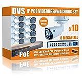 4K UHD IP Überwachungskamera Set H265 ONVIF PoE - 6000GB Festplatte
